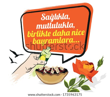 An illustration of an hand offering cologne, a bowl of chocolates, a rose, birds and a text in a talking bubble saying 'To celebrate many more eids together, with health and happiness' Stok fotoğraf ©