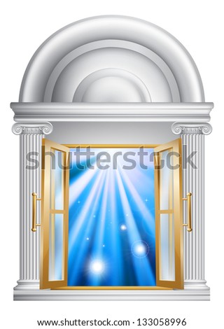 An illustration of an open marble door entrance with blue light on the other side, could be a concept for heaven or the afterlife - stock vector
