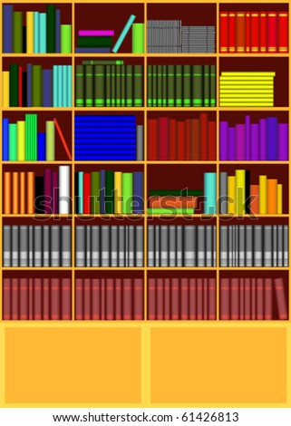 An illustration of bookcase with books