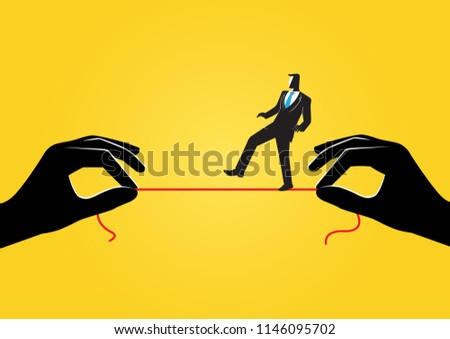 An Illustration of business concept, businessman walking on thin rope