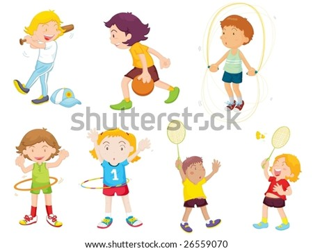an illustration of children playing different sports - stock vector