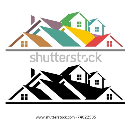 An illustration of colorful and black and white real estate icon - stock vector