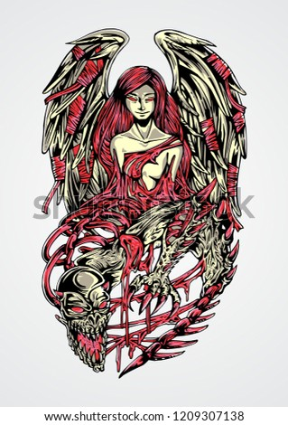 Stock Photo An illustration of demonic creature being reborn into angel. Best use for printed/screenprinted t-shirt, tattoo or poster.