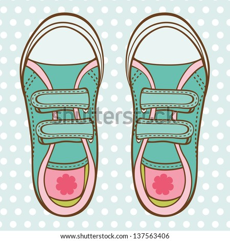An illustration of fashionable girl trainers