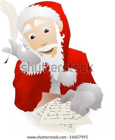 An illustration of Father Christmas or Santa Claus checking his Christmas list or replying to childrenâ??s letters