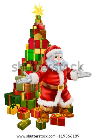 An illustration of happy Christmas Santa Claus with a large stack of presents or gifts in a Christmas tree shape with a star on top.