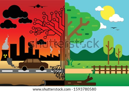 An illustration of how our nature is changing due to the urbanization and modernization