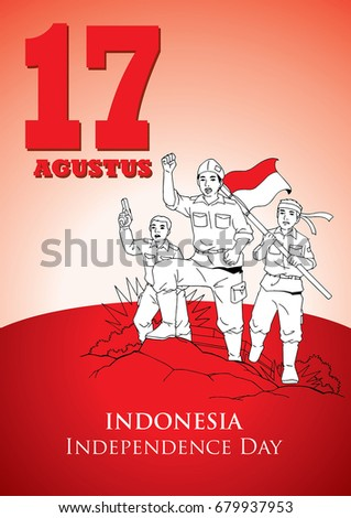 An Illustration of Indonesian soldiers fight for Independence #679937953