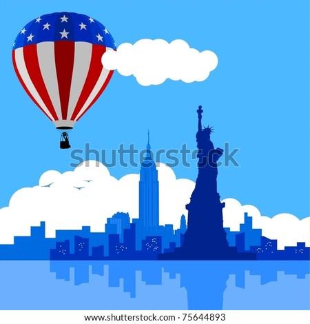 An illustration of new york city skyline with usa flag air balloon