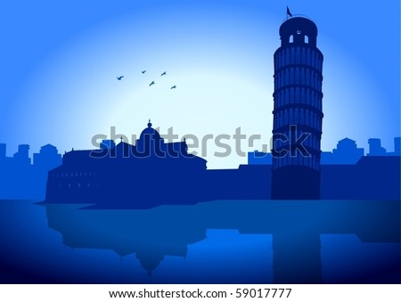 An illustration of Pisa (Italy) skyline with it's leaning tower