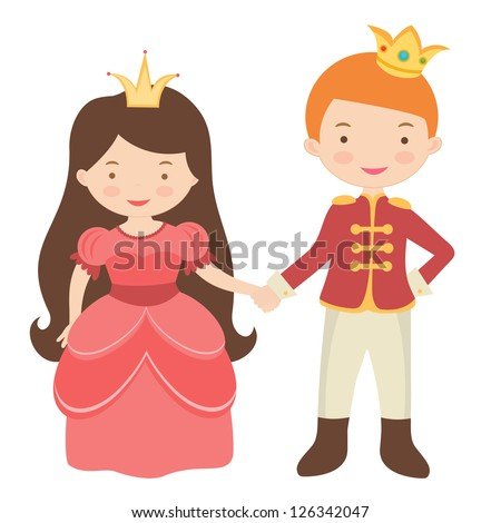 Cute Cartoon Prince and Princess