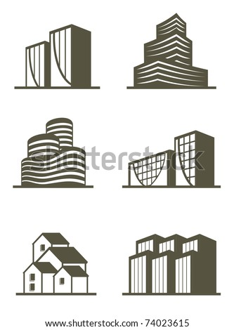 An illustration of real estate building icons
