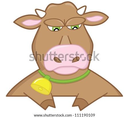 An illustration of sad bull with a bell on neck