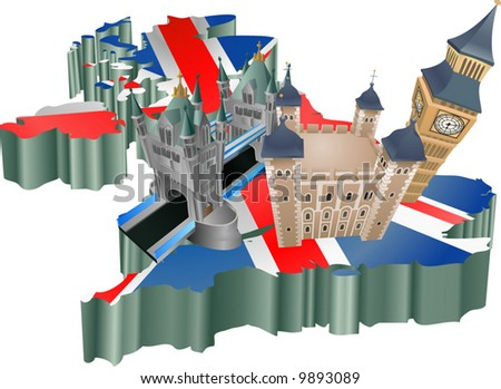 An illustration of some tourist attractions in the uk, signifies United Kingdom tourism