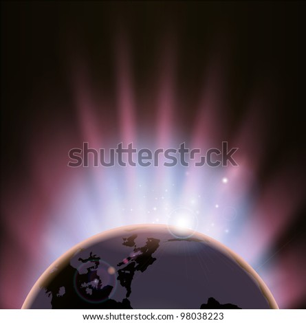 An illustration of the earth eclipsing the sun as it rises over it