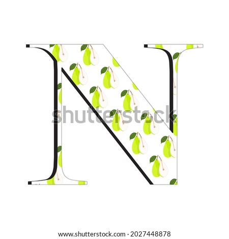 An illustration of the letter N with a fresh pear motif, perfect for children's books and magazines, suitable for children's toy designs as well as for other business purposes. Foto stock ©