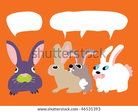 An illustration of three inquisitive bunnies are staring at another all with talk bubbles - stock vector