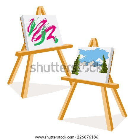 an illustration of two easels