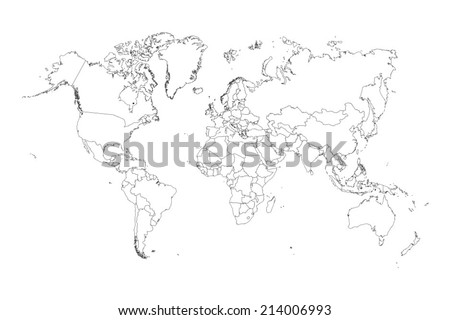 An Illustration of very fine outline of the world (with country borders)