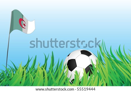 An illustrations of soccer ball, with a algeria flag waving at the background.