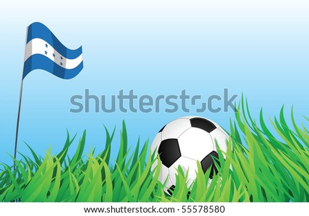 An illustrations of soccer ball, with a honduras flag waving at the background.