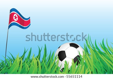 An illustrations of soccer ball, with a north korea flag waving at the background.