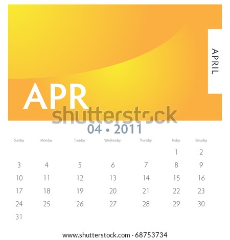 An image of a 2011 April calendar.