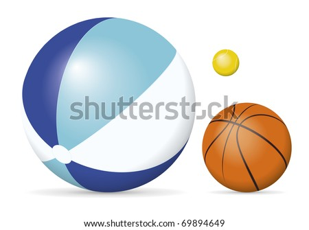 An image of a beach ball, tennis ball and a basket ball