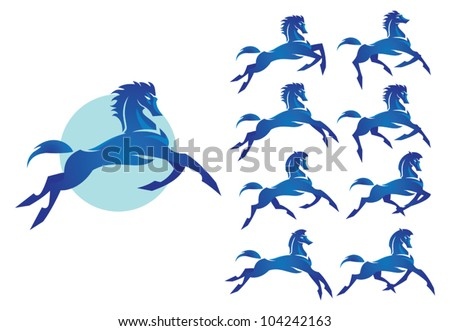 An image of a blue bronco. Wild horse with different running poses. Image of strong character, fast, brave, confident.