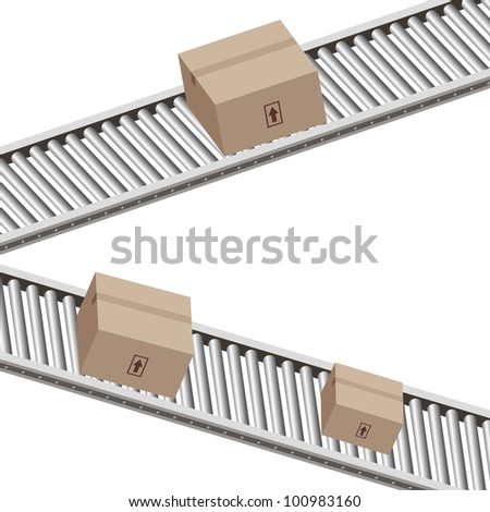 An image of a boxes on a conveyor belt.