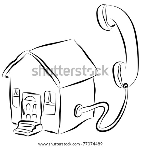An image of a brushstroke style home phone icon.