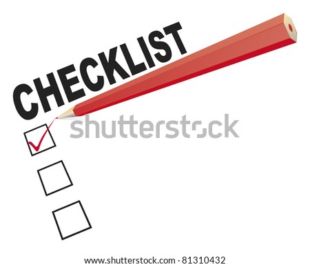 An image of a checklist with a red pencil
