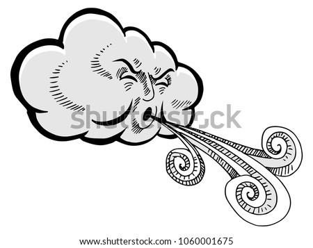 An image of a Cloud Blowing Wind Drawing Cartoon.