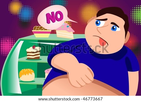 An image of a fat young man standing in front of a bakery display case and looking at all the cakes and pastries with disdain