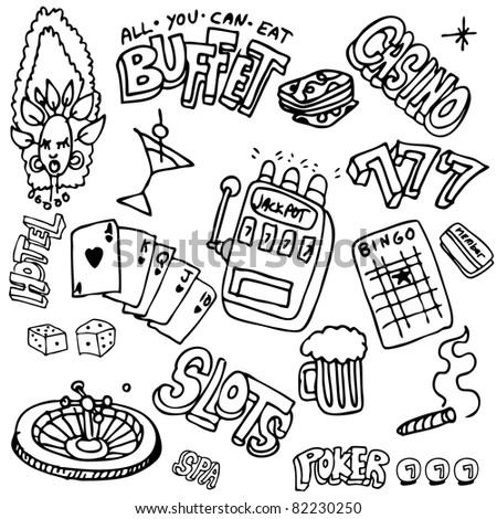 An image of a gambling themed set. - stock vector