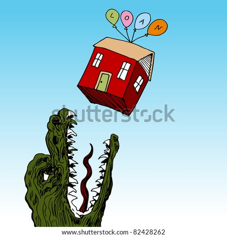 An image of a house floating above a hungry monster.