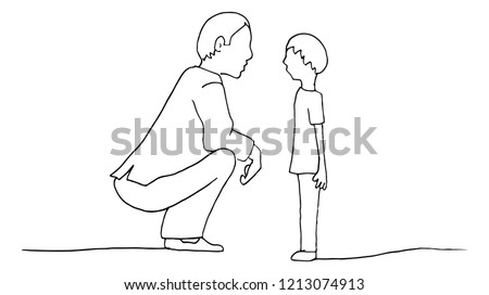 An image of a Kneeling Father Son parent conversation with child.