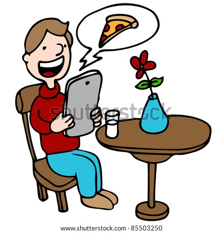 An image of a man ordering pizza with his digital device at a restaurant.