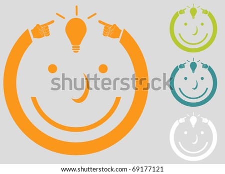 An image of a man with an idea. - stock vector