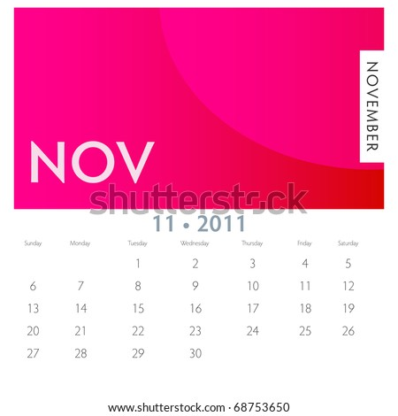 An image of a 2011 November calendar.