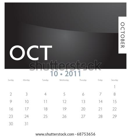 An image of a 2011 October calendar.