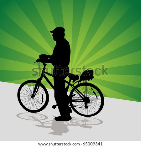 An image of a older man getting ready to bike ride.