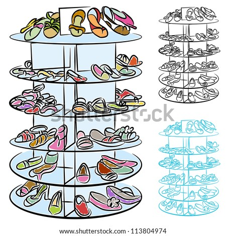 An image of a rack of womens shoes.