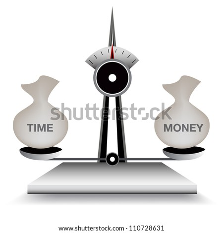 An image of a scale balancing time and money.
