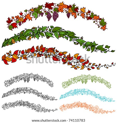 An image of a set of autumn flower leaf vines.