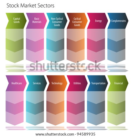 An image of a stock market sector arrow flow chart.