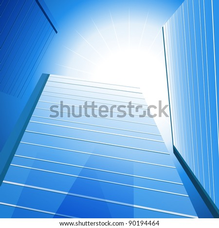 An image of a three tall glass buildings under the sun.