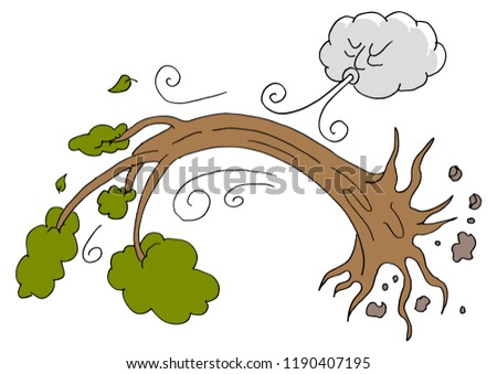 An image of a Tree Uprooted Hurricane Windy Day Cloud.