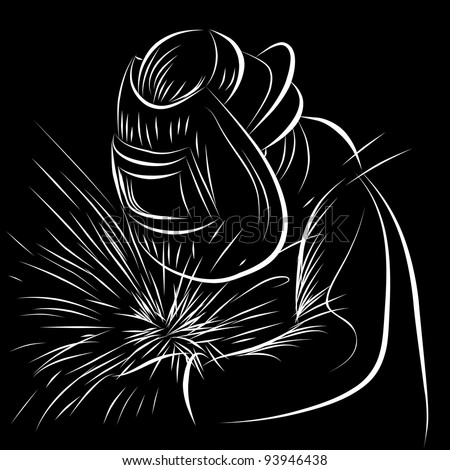 An image of a welder in a scratchboard style.