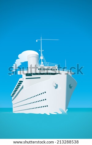 An image of a white cruise ship and the ocean